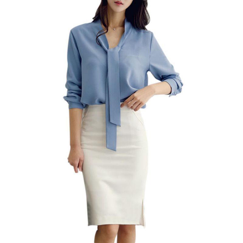 Fashion Spring Autumn Women   Blouses   Elegant Long-Sleeved Long Tie Loose Chiffon   Shirt   Solid Color Blusas