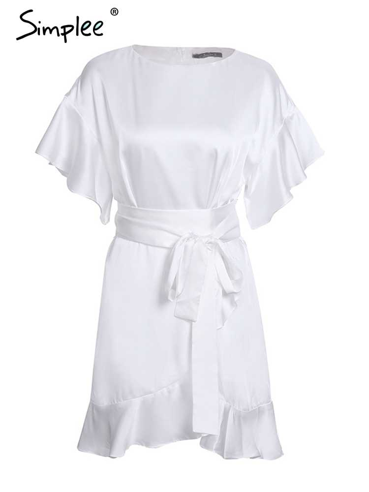 Simplee à volants sangle satin blanc robe femmes vestidos 2017 automne manches courtes sexy robes partie o cou chic robe courte femme