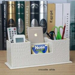 popular creative wooden leather office pen holder school pencil case desk stationery organizer makeup remote controller box 202C