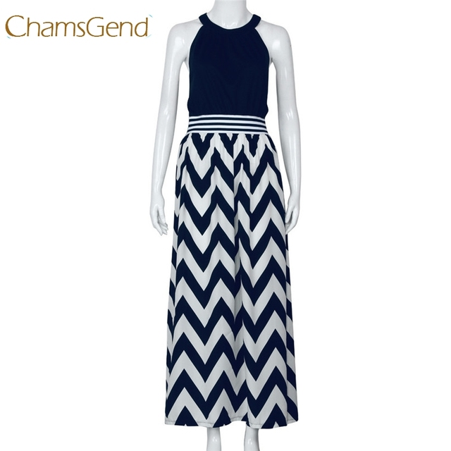 c838d6cb48 Chamsgend mujeres Sexy verano largo Maxi BOHO noche fiesta playa Vestidos  azul marino ondulado rayado vestido