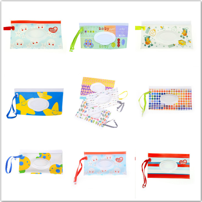 Eco-friendly Easy-carry Snap-strap Wipes Container Wet Wipes Bag Clamshell Cosmetic Pouch Clutch and Clean Wipes Carrying Case