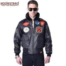 Maplesteed 남자 진짜 가죽 자켓 남자 소 가죽 탑 총 비행 재킷 파일럿 폭격기 오토바이 자켓 모터 바이커 코트 142
