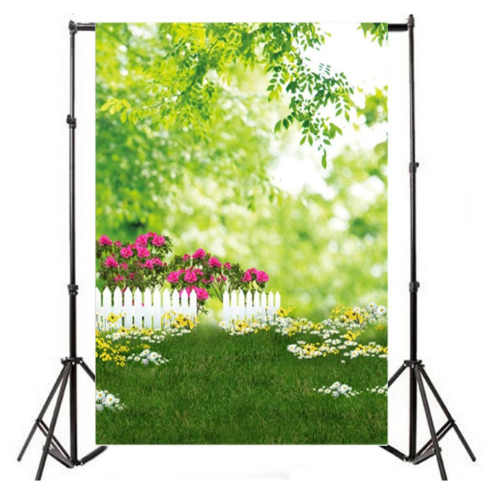 Online buy wholesale white vinyl fencing from china white vinyl 5x7ft thin vinyl photography background outdoors spring lawn florets fresh trees white fence scene baby newborn baanklon Gallery