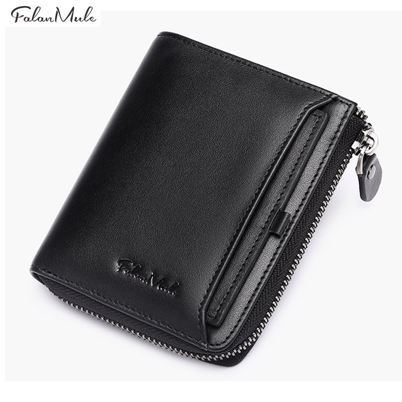 Fashion 2018 New Genuine Leather Men Wallet Boys Mini Purse Small Coin Purses Short Male Wallets Mans Purses