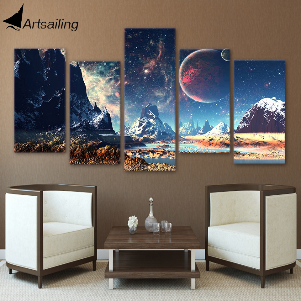 artsailing hd print 5 piece canvas art mountains and space canvas set planet snow lake galaxy. Black Bedroom Furniture Sets. Home Design Ideas