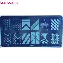 1Pcs Geometry Rectangle Stamping Image Printing Plate 20 Designs Geometric Stamp Nail Art Template Tools XYZ03211