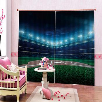 Customized size Luxury Blackout 3D Window Curtains For Living Room green Pasture sports curtains Drapes Cortinas