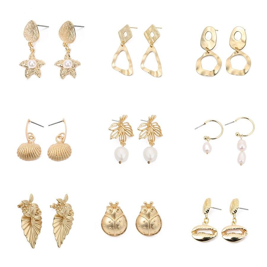SAUVOO Women Fashion Statement Geometric Drop Earrings Summer Holiday Travelling Cute Luxury Jewelry Gold Alloy Dangle Earrings in Drop Earrings from Jewelry Accessories