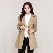 Autumn Trench coat Latest Street Style Women Coat Single-breasted Medium long Trench coat Big yards Leisure Slim Women Coat 2669