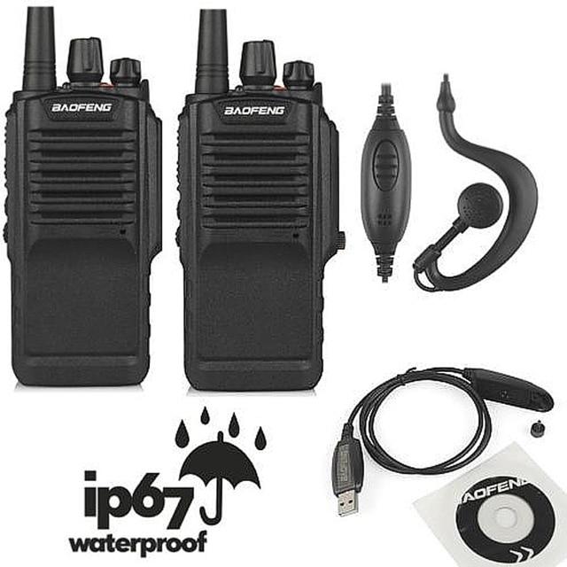 2 pcs x bf-9700 baofeng uhf 400-520 mhz 5 w ham two-way radio walkie ip67 à prova d' água talkie + cabo de programação & cd