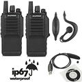 2pcs x Baofeng BF-9700 UHF 400-520MHz 5W IP67 Waterproof Ham Two-way Radio Walkie Talkie+ Programming Cable&CD