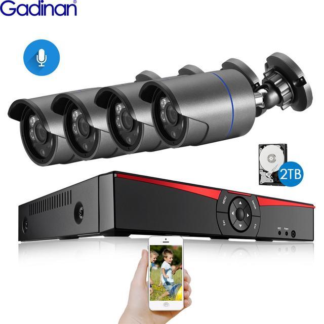 H.265 نظام المراقبة 4CH 5.0MP POE طقم NVR في الأماكن المغلقة في الهواء الطلق رصاصة الصوت سجل 5MP 3MP 2MP IP كاميرا الأشعة تحت الحمراء ليلة P2P مجموعة الفيديو