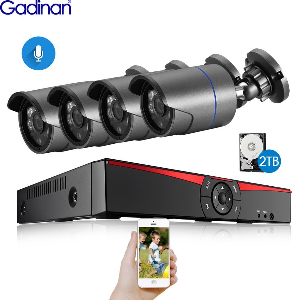 H.265 Surveillance System 4CH 5.0MP POE NVR Kit Indoor Outdoor Bullet Audio Record 5MP 4MP 2MP IP Camera IR Night P2P Video Set