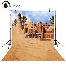 Allenjoy 사막 사진 배경 건물 오래 된 멋진 도시 오아시스 미라지 배경 사진 초상화 촬영 소품 사진 세션
