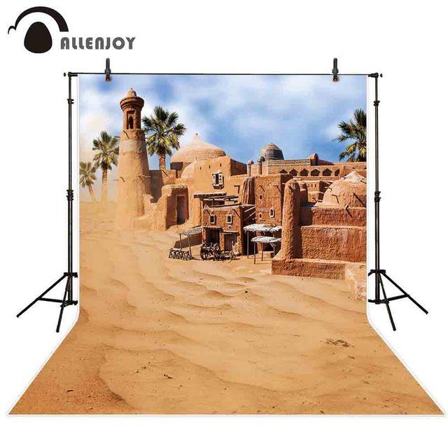 Allenjoy 砂漠背景建物歳素晴らしい市オアシスミラージュ背景フォトポートレート撮影の小道具フォトセッション