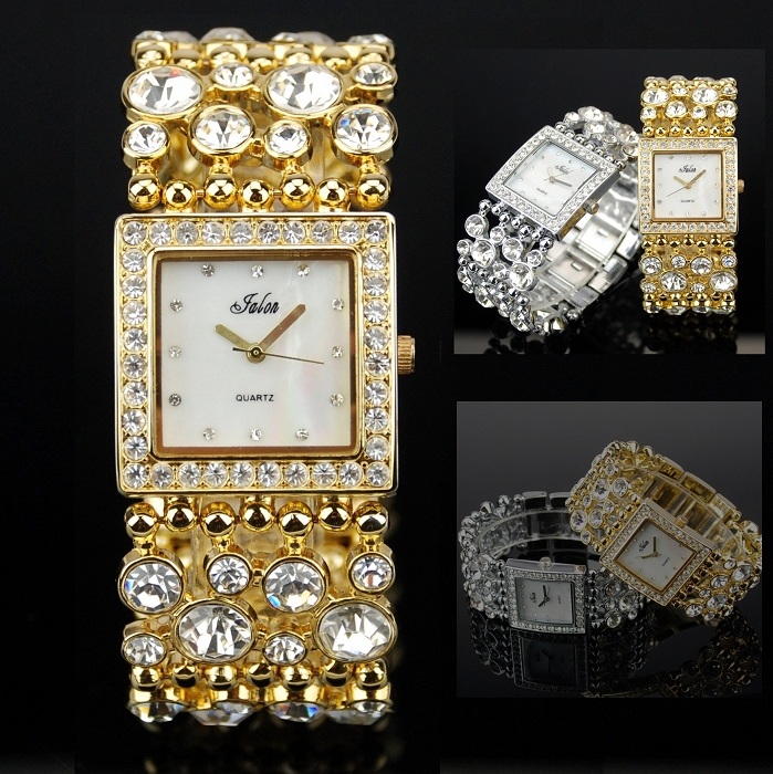 Prix pour Classique Jalon Robe Femmes Montres Élégant Cristal Strass Quartz Montre-Bracelet Lady Parti Bracelet Relogio Casual Montre