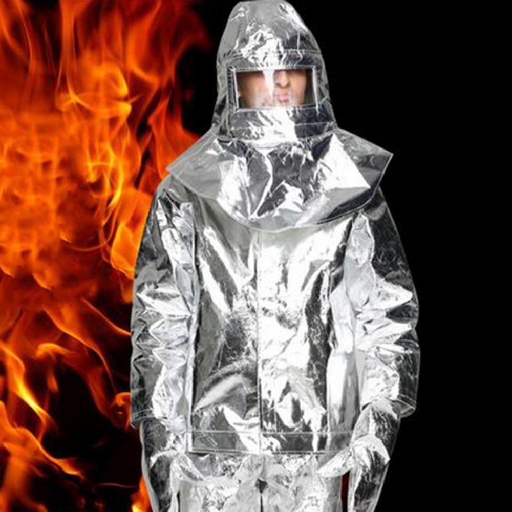 1000C Aluminum Foil Fire Protected Clothes Thermal Insulation Clothing Fireproof Aluminum Foil Heat Insulation Clothes Full Set