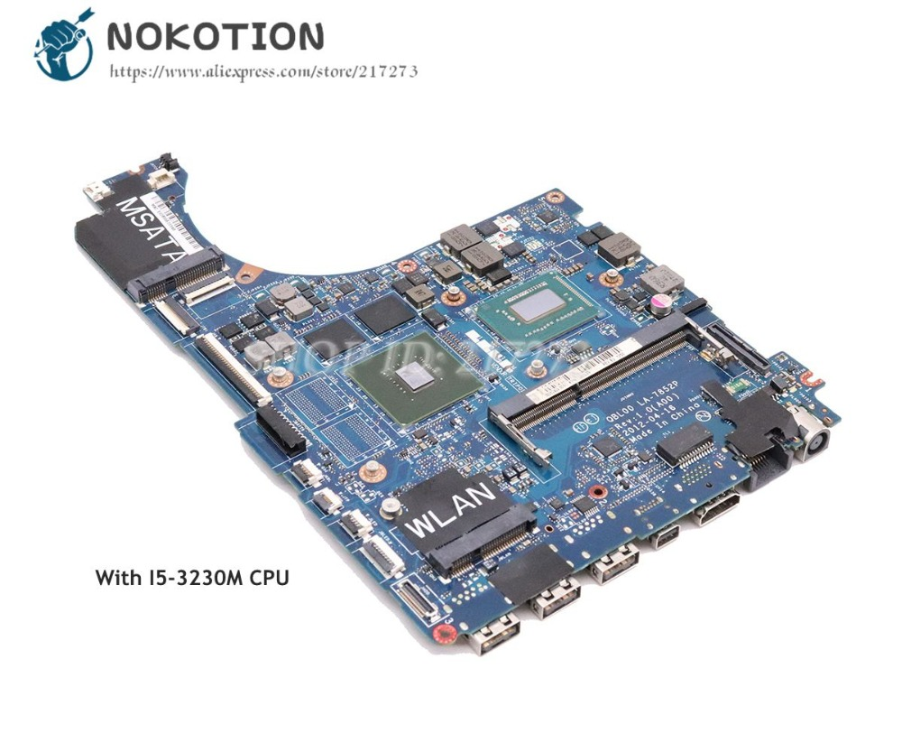 NOKOTION For Dell XPS 15 L521X Laptop Motherboard 15.6 inch SR0WX I5-3230M CPU QBL00 LA-7852P CN-0NM71J 0NM71J