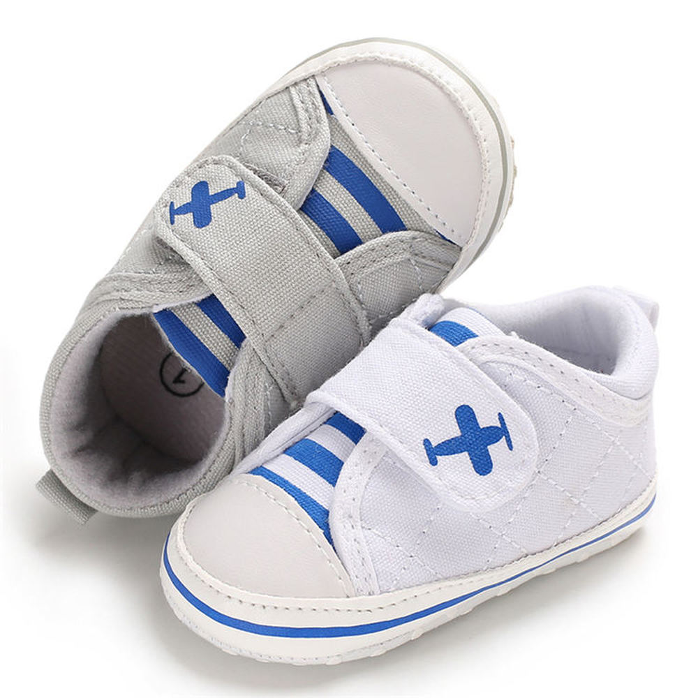 Baby Boy Shoes Sneaker Canvas Sole Cotton Soft Anti-slip Stripe Plane Print Solid First Walkers Toddler Infant Crib Shoes Girl