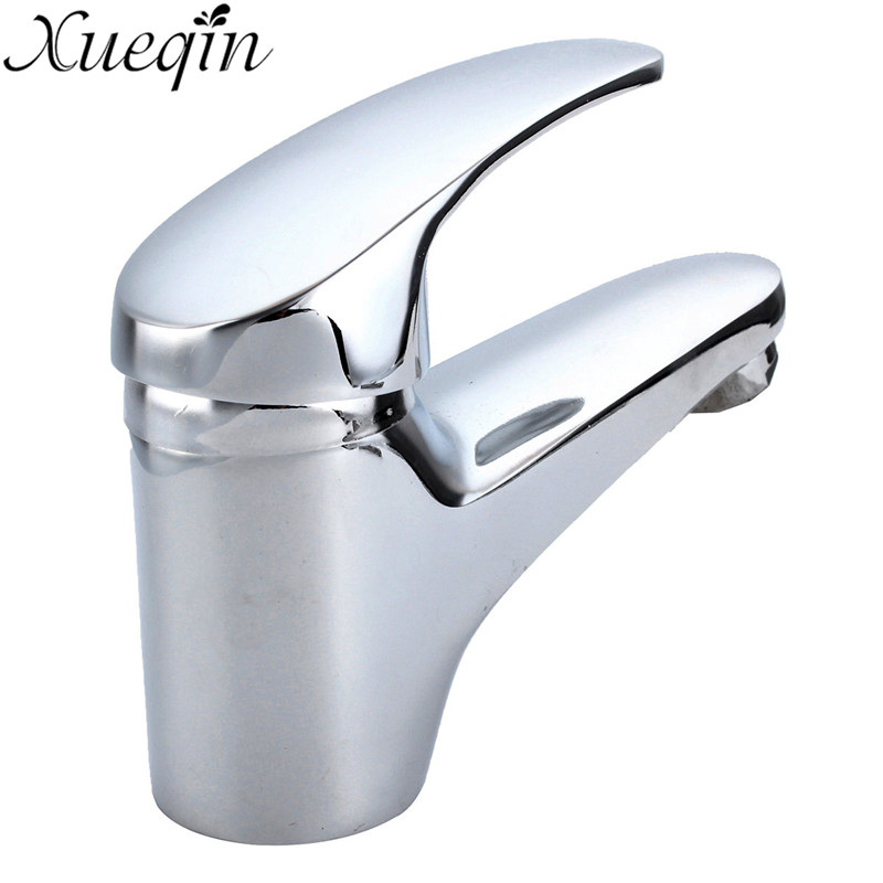 Xueqin Bathroom Basin Faucet Solid Brass Chrome Deck Mounted Bathroom faucet Mixer Single Handle Hot and Cold Water Tap bathroom