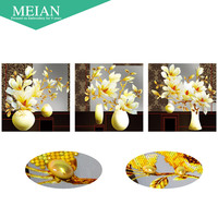 Meian Special Shaped Diamond Embroidery Flower Magnolia 5D Diamond Painting Cross Stitch 3D Diamond Mosaic Decoration