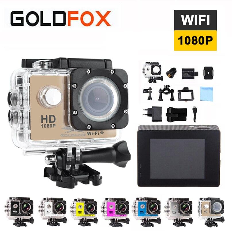 Goldfox 2.0 inch LCD Screen Wifi Action Camera 12MP 1080P HD Waterproof Go diving Pro Sport DV 170D Lens Bike Helmet Car Cam DVR