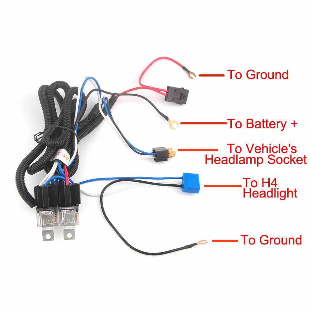 hight resolution of  h4 headlight fix dim light relay wiring harness system 2 headlamp light bulb