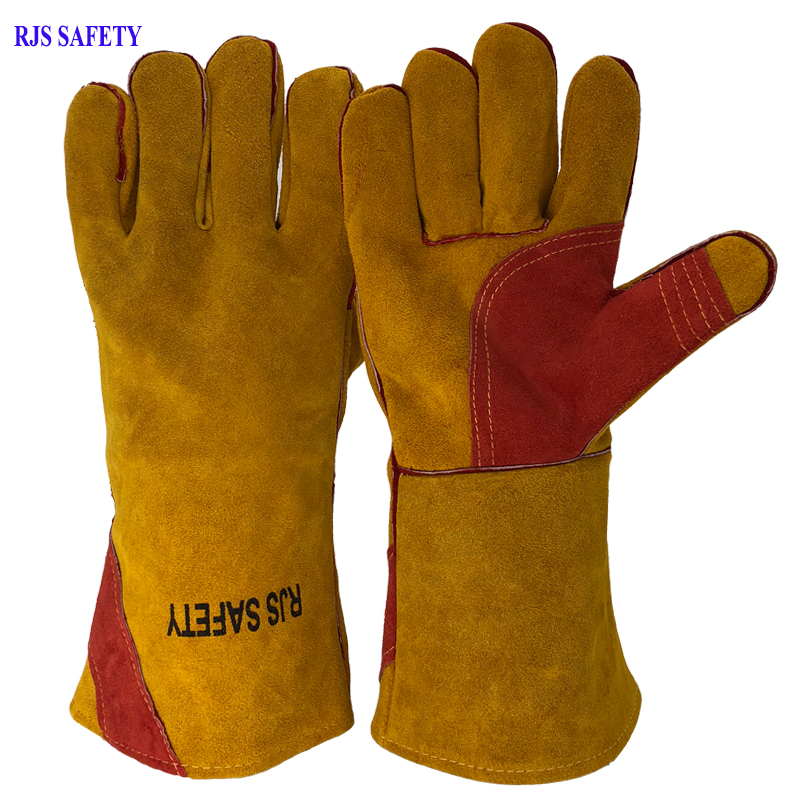 Long Safety Welding Gloves Working Gloves Cowhide Leather Men Working Safety Protective Sports MOTO Wear-resisting Gloves NG8031 free ship 5 pairs weldas long cowhide welding gloves welders high temperature fire resistance safety leather working gloves