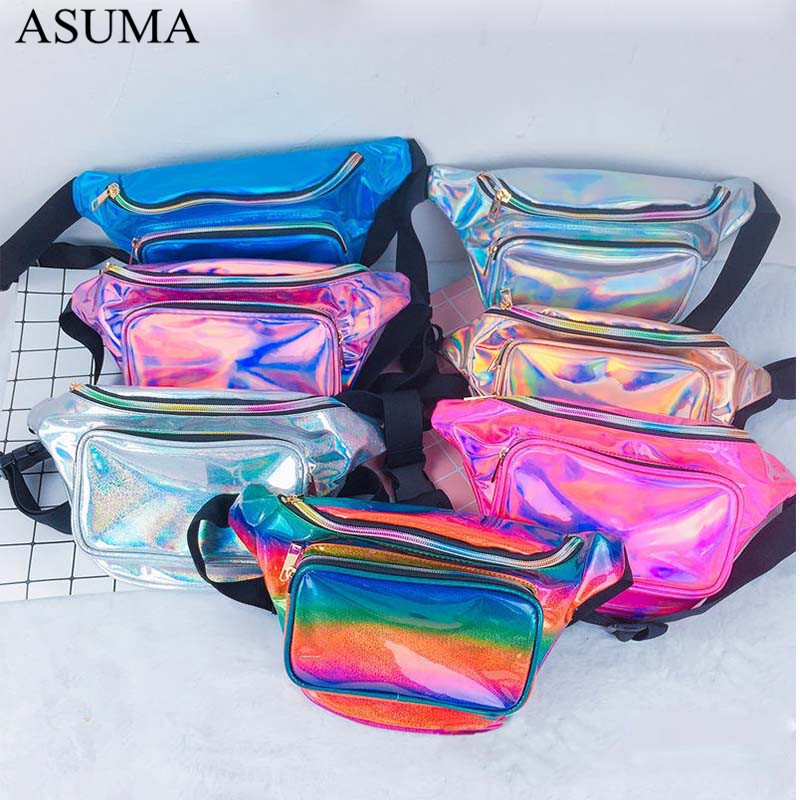 New Holographic Waist Bag For Women Laser Fanny Pack Belt Bag Bum Bag Unisex Banana Bags Waist Packs Laser Chest Phone Pouch in Waist Packs from Luggage Bags