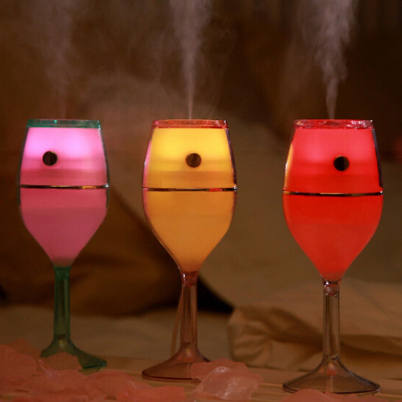 Air Humidifier Red Wine Cup USB Colorful Night Lamp No Noise Mini Portable Air Cleaner for Home Bathing Accessory Set