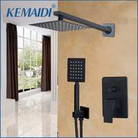 KEMAIDI Bathroom Shower Head Black 8 inch Wall Mounted Bathroom Rainfall faucet Sets Shower Faucet & Hand Shower Set