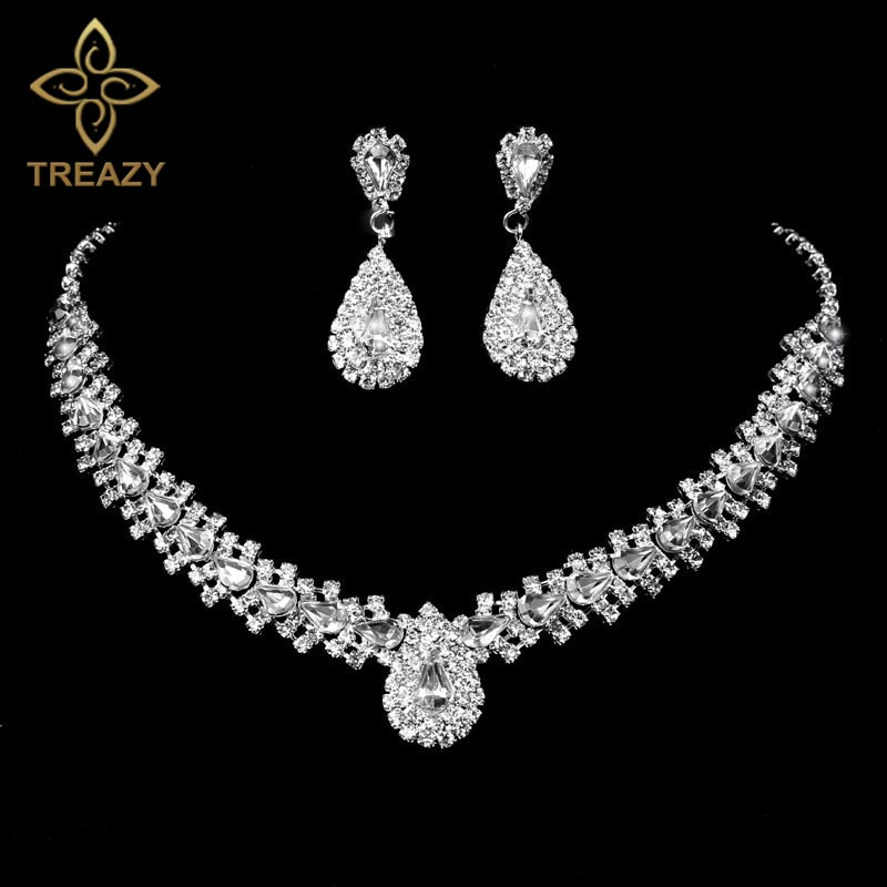 Gift for her Bridal Gift Silver Plated Metal with Ab Tear Drop Stone Choker Set Rhinestone Choker Necklace