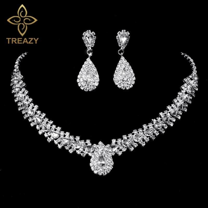 53900c781026 Treazy brillante cristal teardrop diseño boda joyería nupcial conjunto  plateado mujeres collar gargantilla Pendientes conjunto