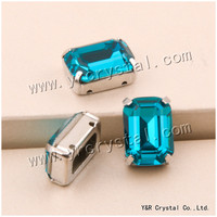 YANRUO #4610 S 10*14mm 13*18mm Blauw Zirkoon Octagon Fancy Stones Pointback Met Klauw instellen Naaien Crystal Shine Losse Diamant