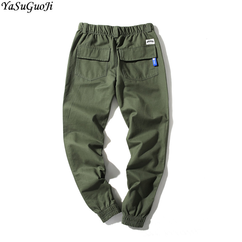 YASUGUOJI Fashion Slim Fit Harem Pants Men Pencil Cargo Pants Ankle-length Sweatpants Men Plus Size Jogger Hombre XXK23