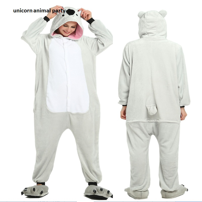 Flannel Cartoon animals conjoined  For Men Women Adult Pajamas Animal Koala Onesie Cosplay Costume Sleepwear