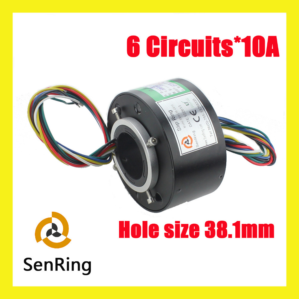 Senring Through bore slip rings electrical contacts 38.1mm 6 circuits 10A