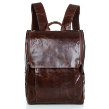 100% Simple Style Genuine Leather Laptop Travel Rucksack 7344-2 Color цена и фото