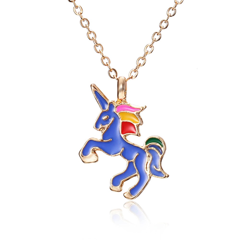 HORSE Necklace For Girls Children Kids Enamel Cartoon Horse jewelry accessories Women Animal Necklace Pendant Unicorn Party 1