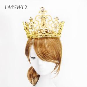 Image 4 - New Vintage Gold Color Luxury Rhinestone Big Tiara Bride Wedding Queen Lager Royal Crown Tiaras Hair Jewelry Hair Accessories