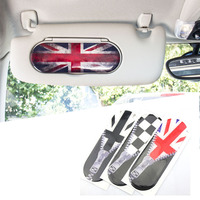 1pc Union Jack Style Car Sun Visor Makeup Mirror Back Stickers Decals Decoration For Mini Cooper