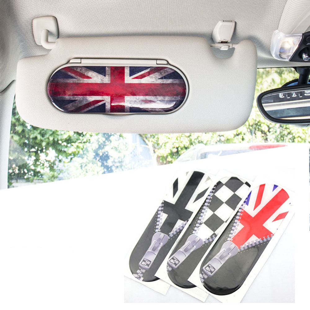 1pc Union Jack Style Car Sun Visor Makeup Mirror Back Stickers Decals Decoration For Mini Cooper F55 F56 Car Styling Accessories