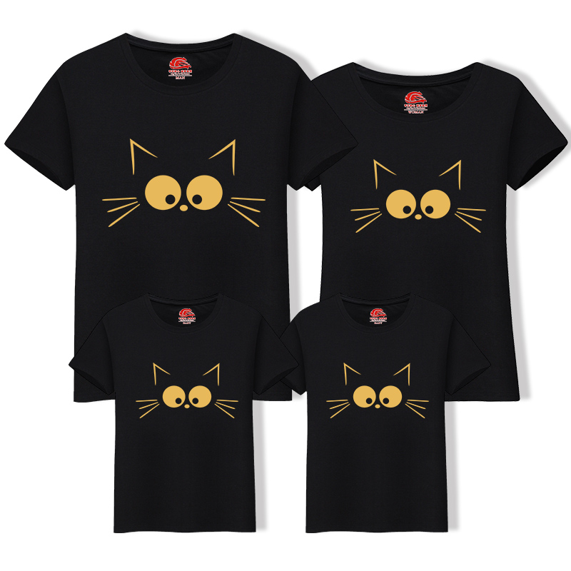 1Piece Matching Mother Daughter Clothes Cute Cat Print Family Look Family Matching Parent-child Outfit Ma e Filha Mommy T-shirts 2015 ma e filha page 1