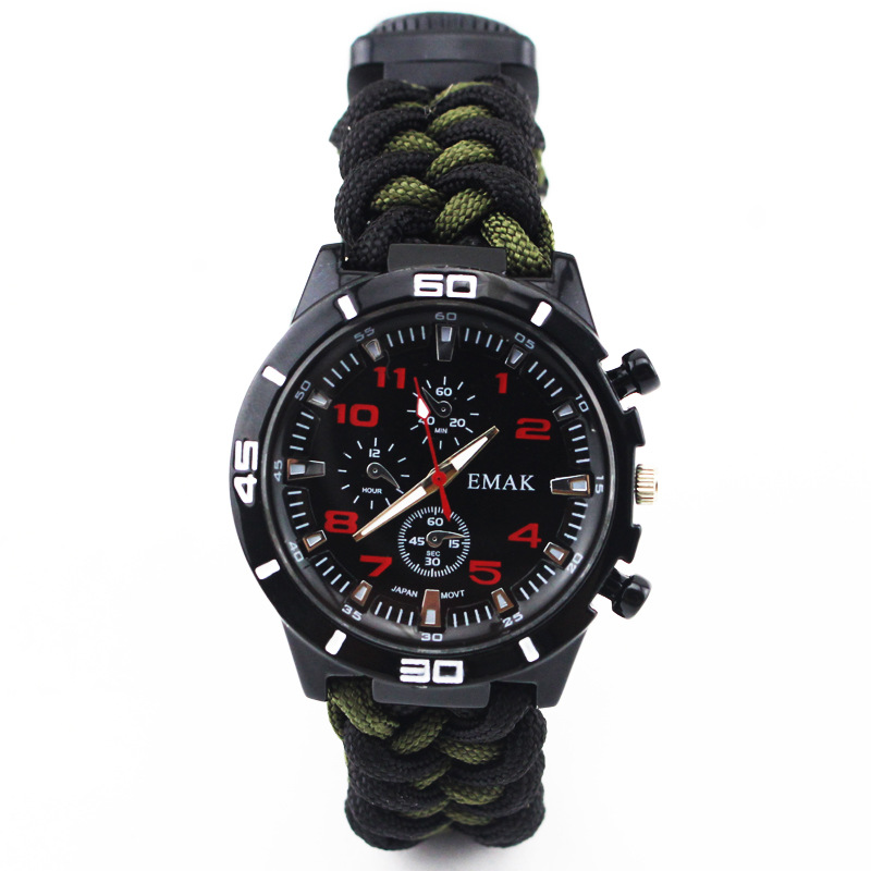 Outdoor Camo Survival Watch Camping Tools Multi functional Compass Thermometer Knife Bracelet Wristband Paracord 9 inch Watches in Safety Survival from Sports Entertainment