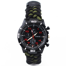 Outdoor Camo Survival Watch Camping Tools Multi-functional Compass Thermometer Knife Bracelet Wristband Paracord 9 inch Watches