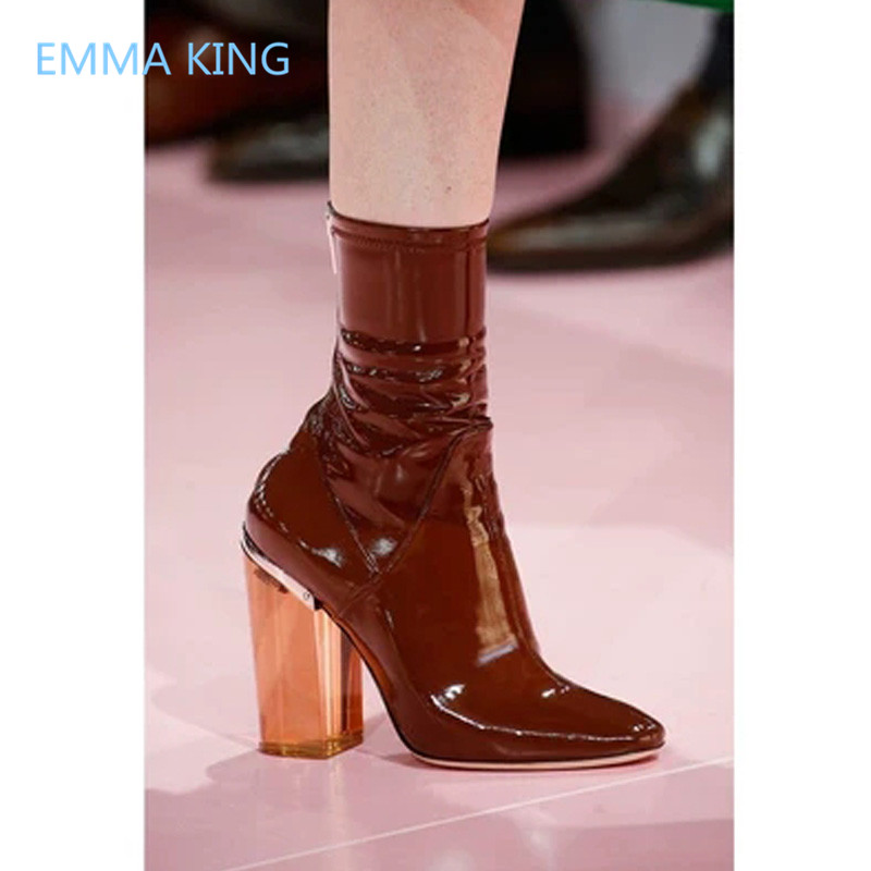 b2b477a3117 Autumn Winter New Clear Heel Ankle Boots Women Shoes Luxury Patent ...