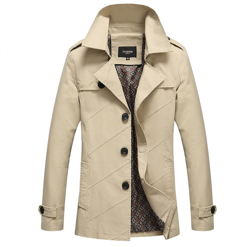 Spring Autumn Male Overcoat Long Jacket Coat Men Men's Trench Coat Trenchcoat Masculina Windbreaker Outwear Cotton Fabric