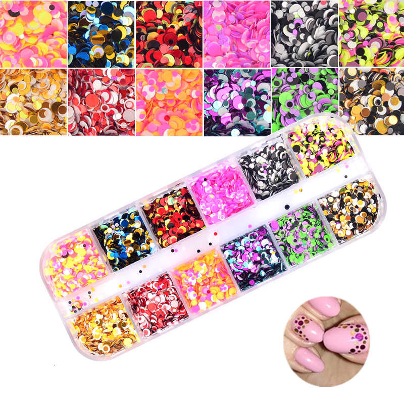 1 Set Dazzling Ronde Nail Glitter Pailletten Stof Gemengde 12 Grids 1/2/3 Mm Diy Charme Polish vlokken Decoraties Manicure Tips