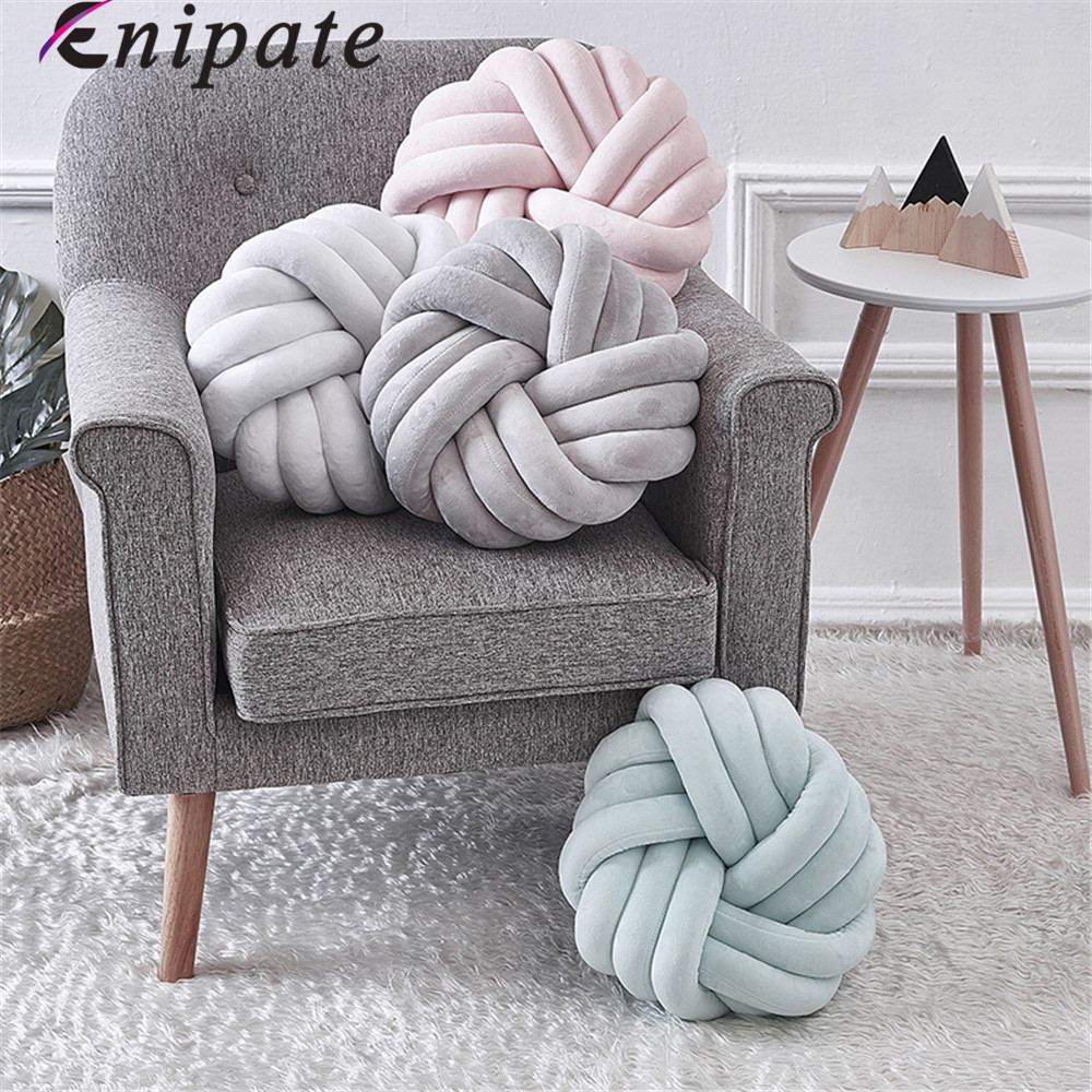 Enipate Nordic Plush Lovely Knot Braided Cushion Ball Hand Knotted Creative Chunky Pillow Home Decor Brief Decor Pillow 35x35cm