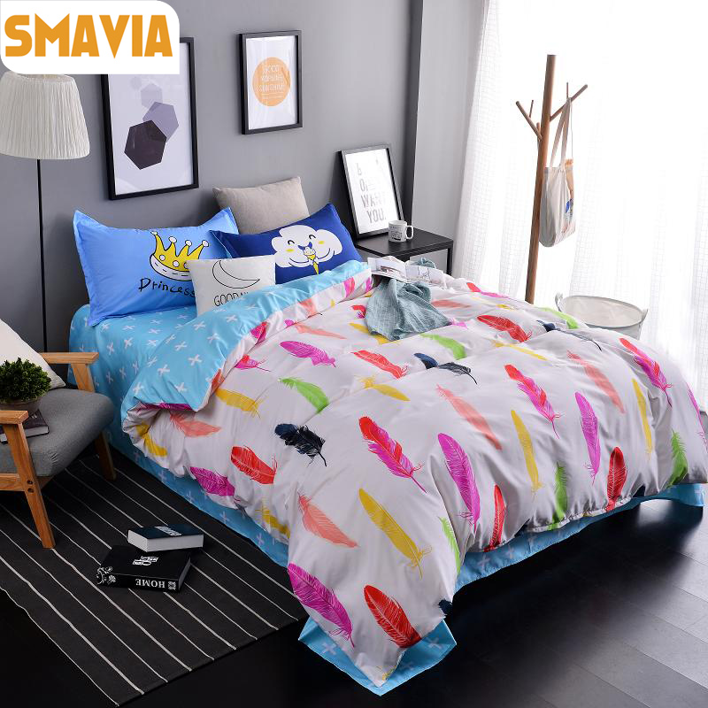 smavia feather bedding sets 34pc fashion dye printing queen king bed set home hotel bed linen bed sheet kids duvet cover sets